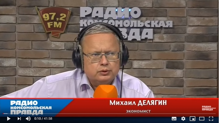 Михаил Делягин в студии Радио КП